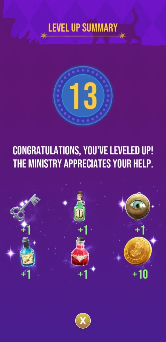 The rewards the player receives for reaching level 13