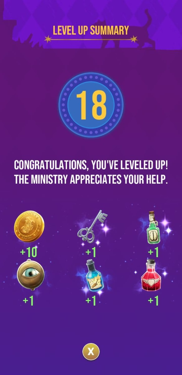 The rewards the player receives for reaching level 18