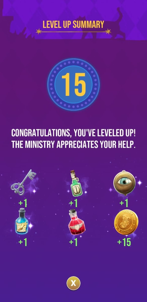 The rewards the player receives for reaching level 15