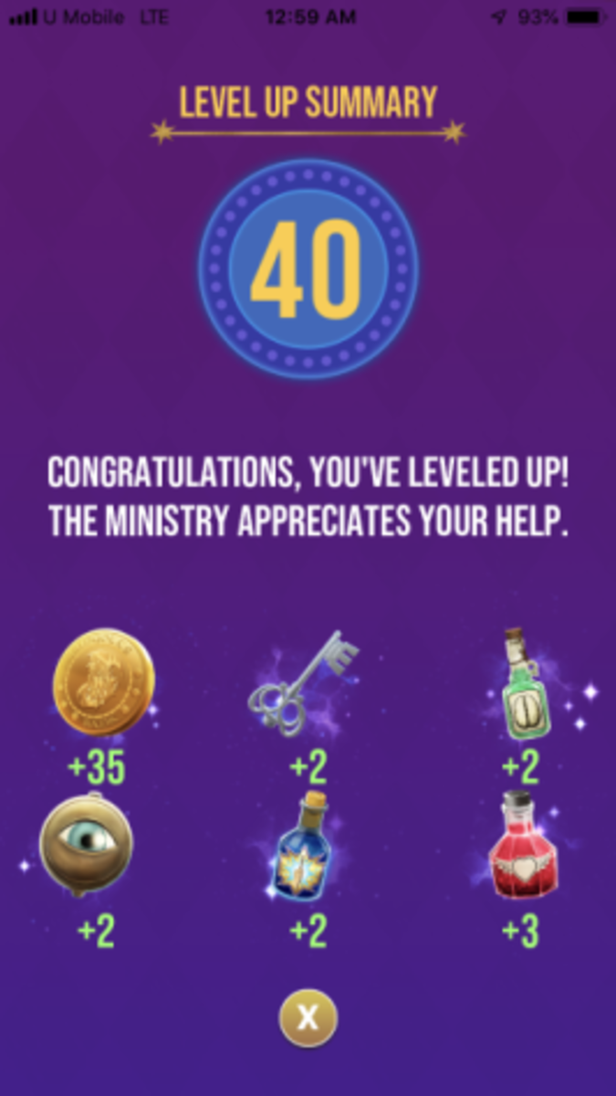 The rewards the player receives for reaching level 40