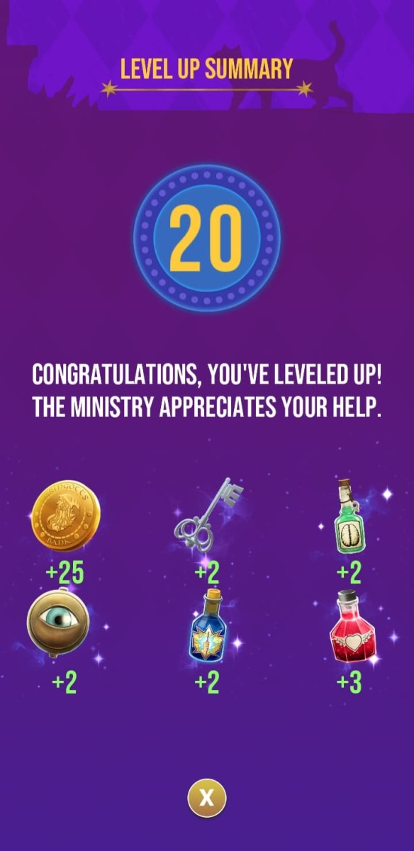 The rewards the player receives for reaching level 20