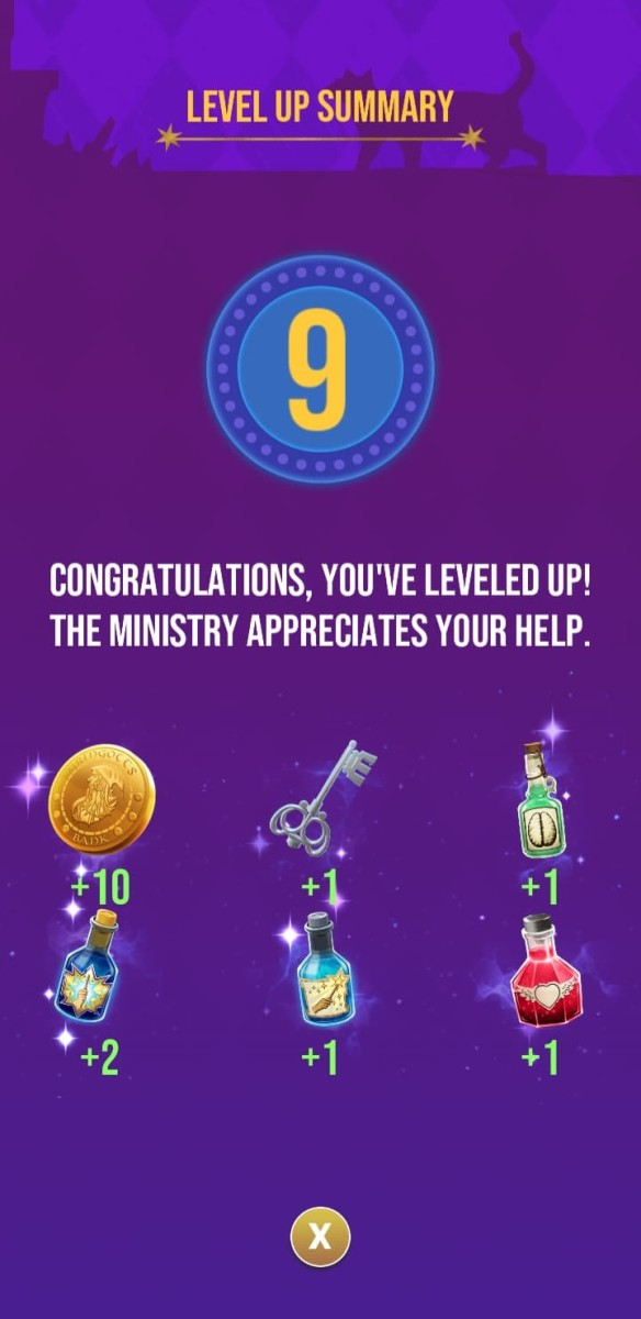 The rewards the player receives for reaching level 9
