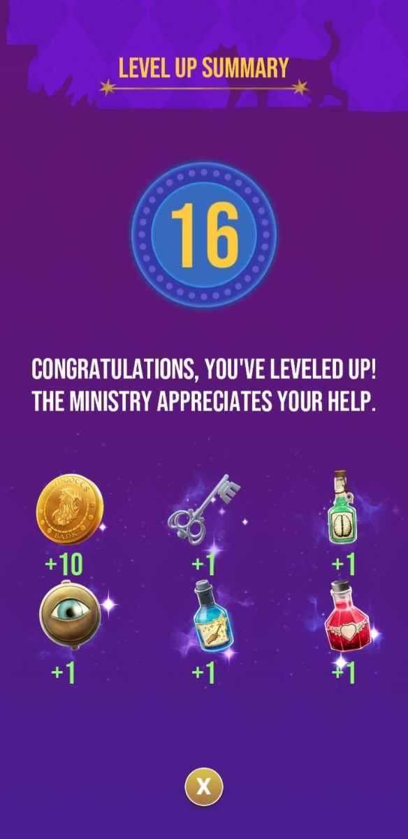 The rewards the player receives for reaching level 16
