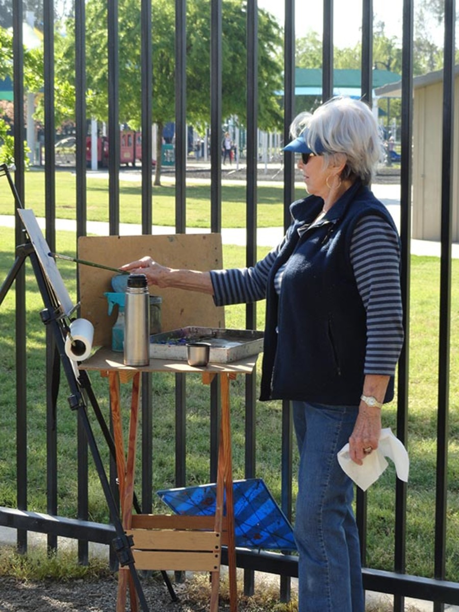 My friend Maxine painting in the open air.