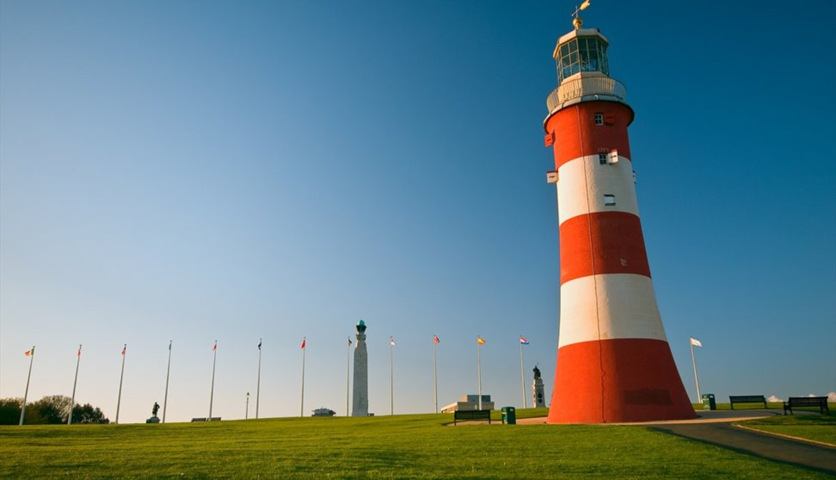 Smeaton's Tower was brought back, block by block from Eddystone Rock and placed in Plymouth Hoe.