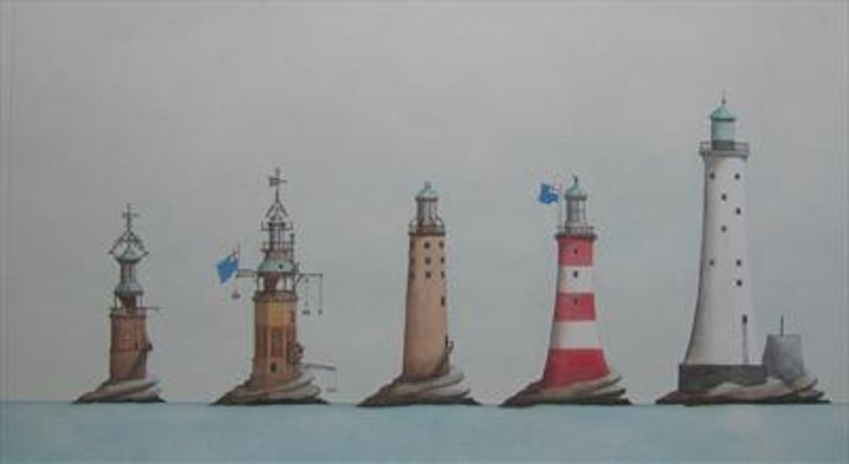 Sketches of the five Eddystone Lighthouses. Two are still standing