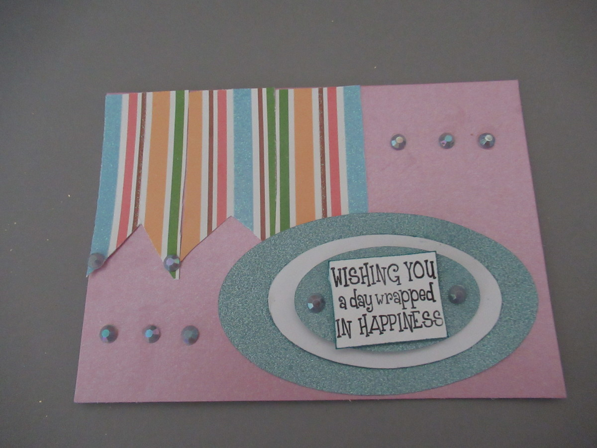 "One of the easiest ways to use scraps is to make strips of paper in 3/4 "" and then arrange them to decorate a greeting card"
