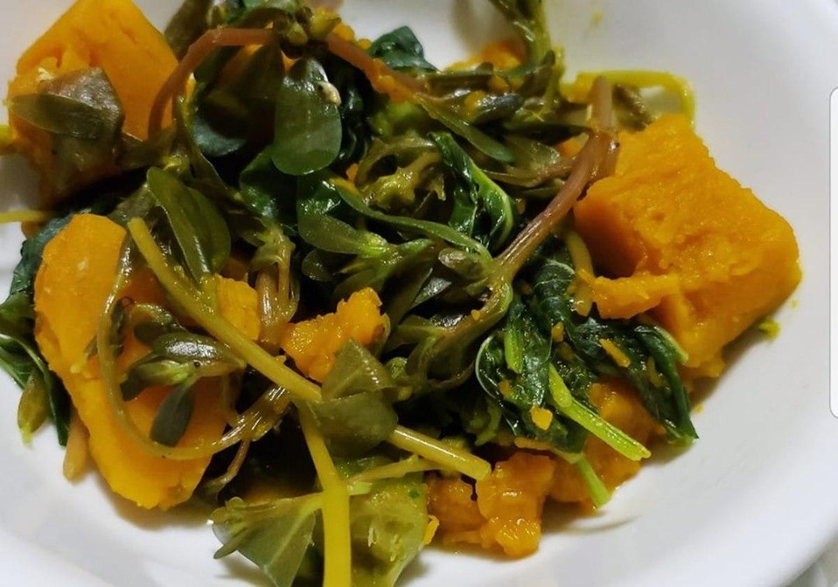 Filipino dish with kabocha squash, okra, spleen amaranth and ulasiman or purslane.