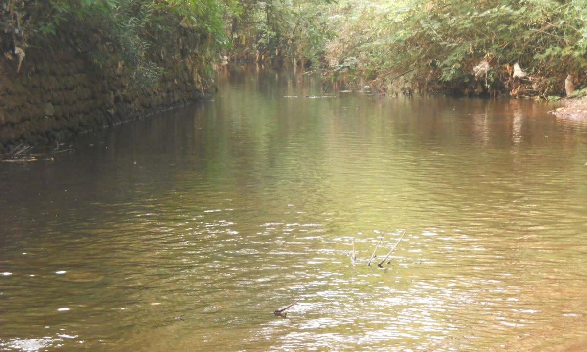 Flow of river three kilometers downstream