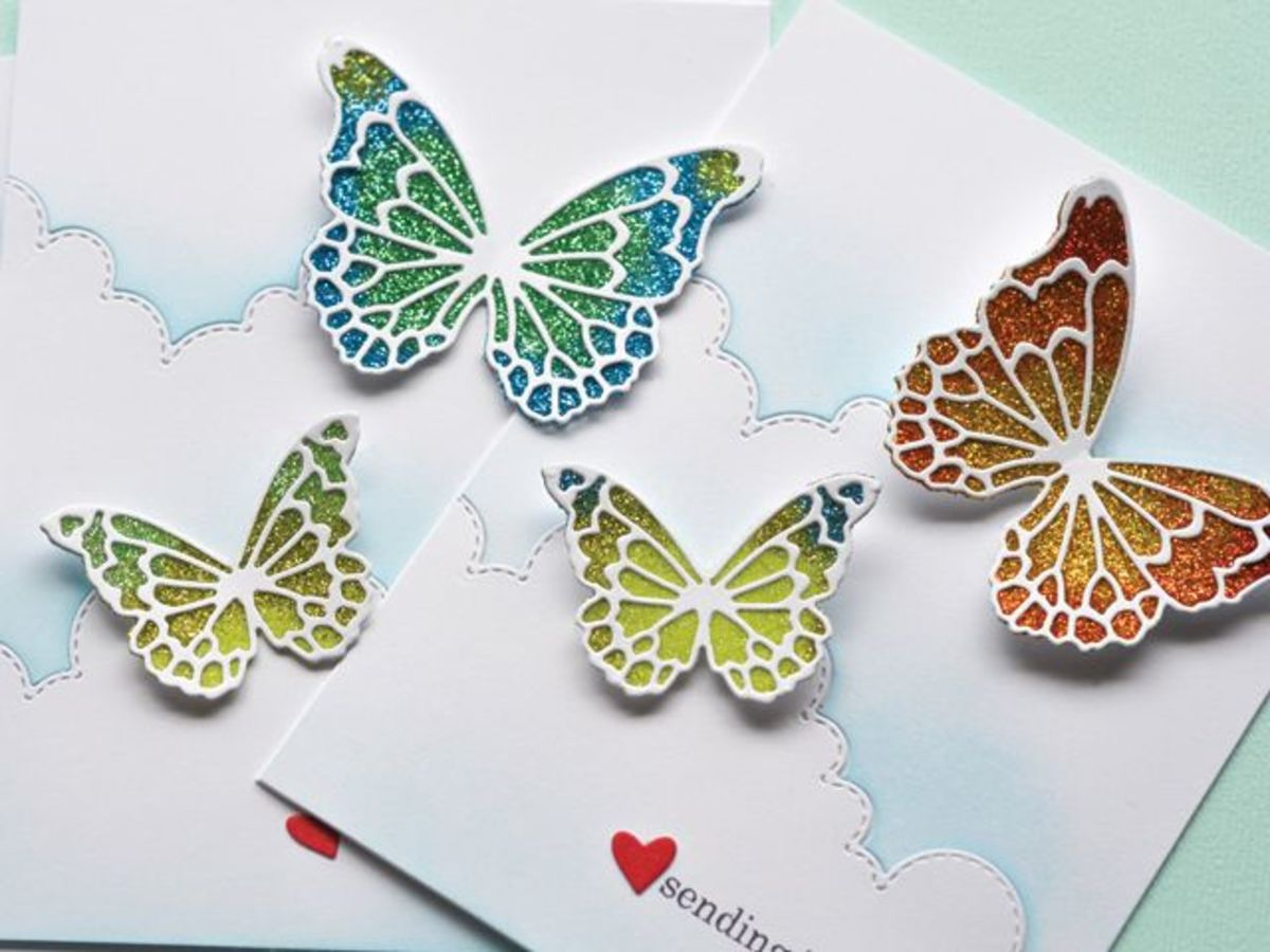 One of my favorite ways to use glitter glue is to create glitter butterflies. Stamp a butterfly shape and decorate with the glitter view of your choice