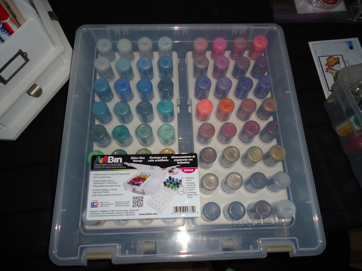 This art bin is perfect to store all of your glitter glues. Holds a lot of product. This is my preferred storage