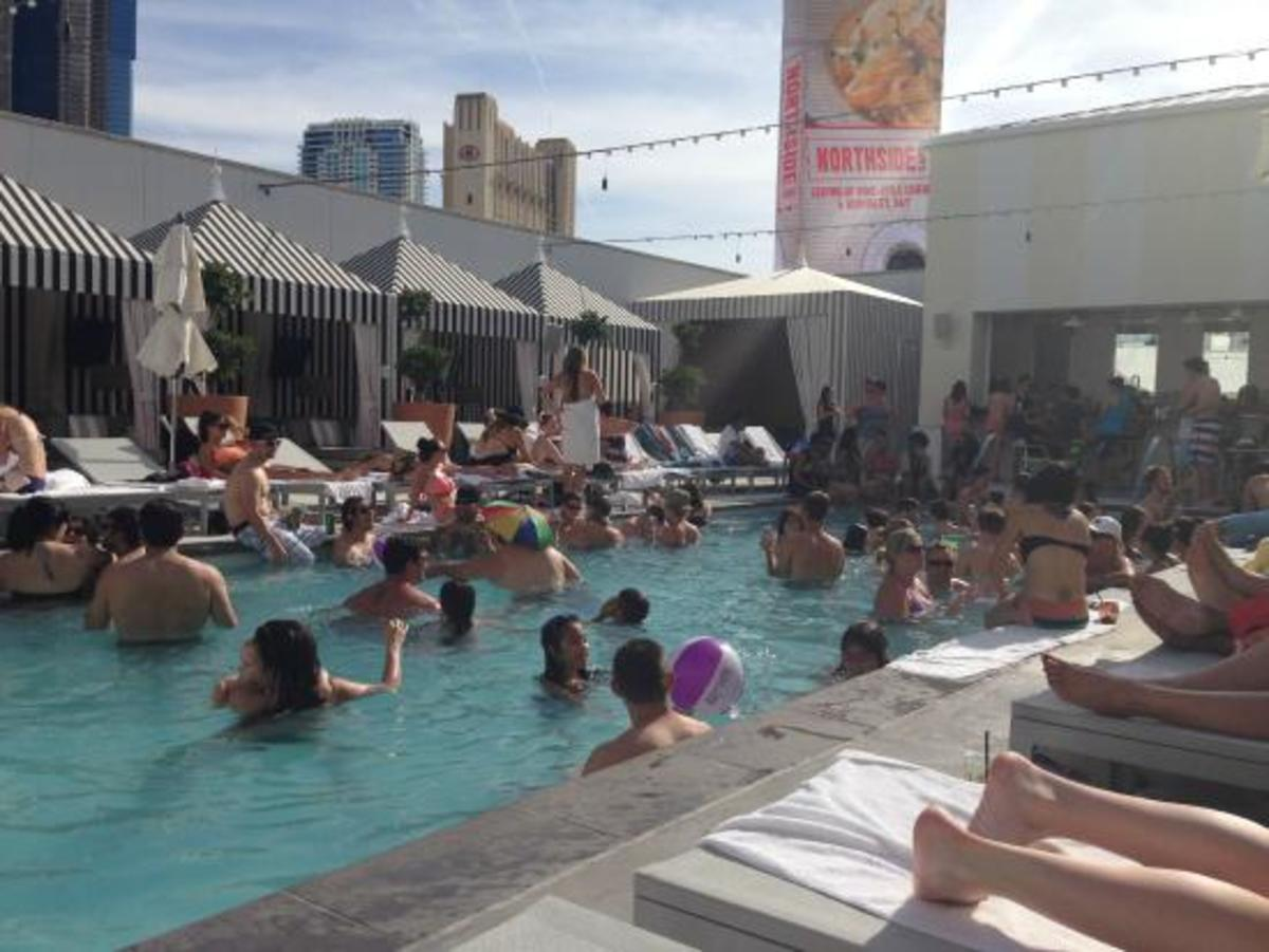 Over-crowded hotel pool