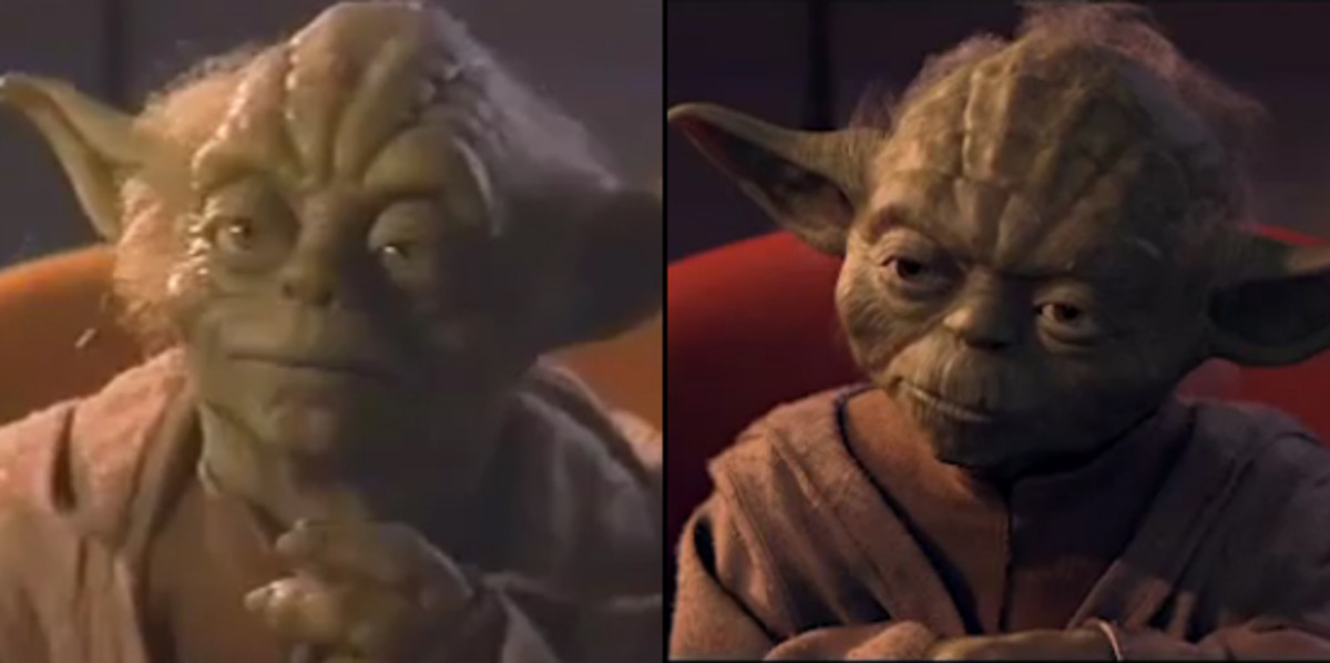 The puppet Yoda (left) and the CGI Yoda (right) in Phantom Menace.