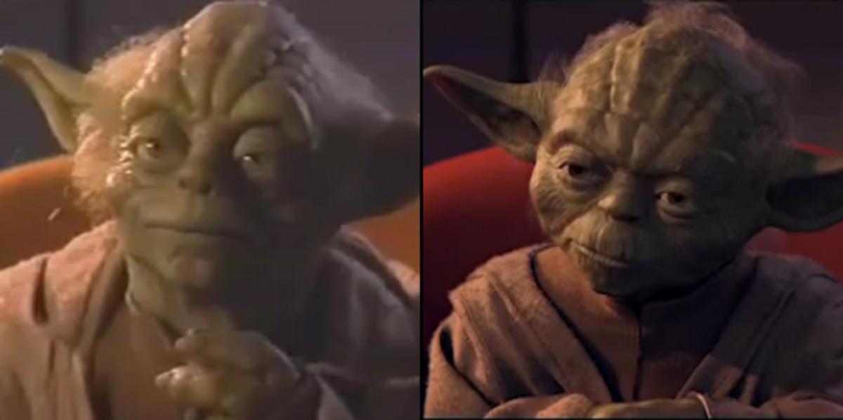 The puppet Yoda (left) and the CGI Yoda (right) in Phantom Menace.