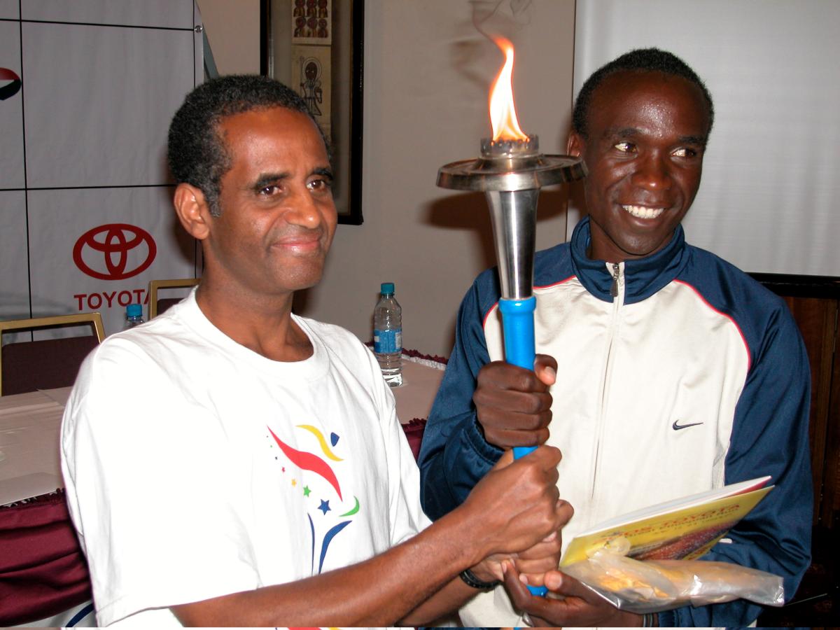 Eluid Kipchoge and Aklilu at the Hilton, Ethiopia