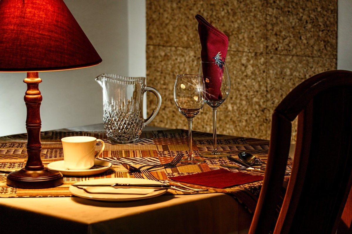 Special lighting or a candle combined with a nice place setting make dining alone special.