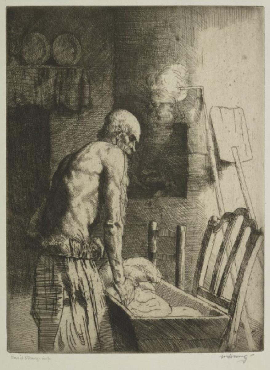 "Illustration to 'The Brownie of Blednoch, entitled, ''I'll turn the bread"", by William Strang."