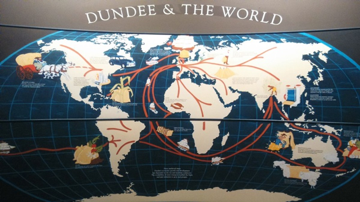 The rise of the jute industry in Dundee and the export of raw jute from the Indian subcontinent.     Dundee & The World - Exhibition London