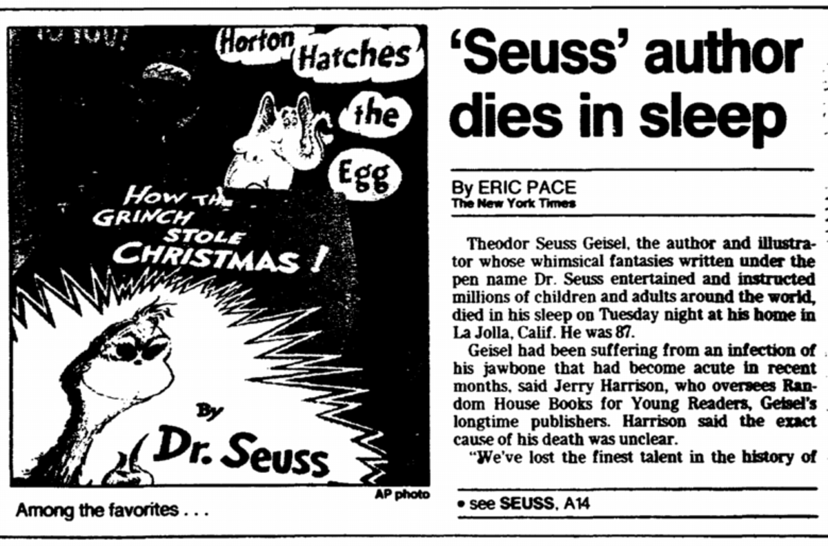 Newspaper clipping of Dr. Seuss death
