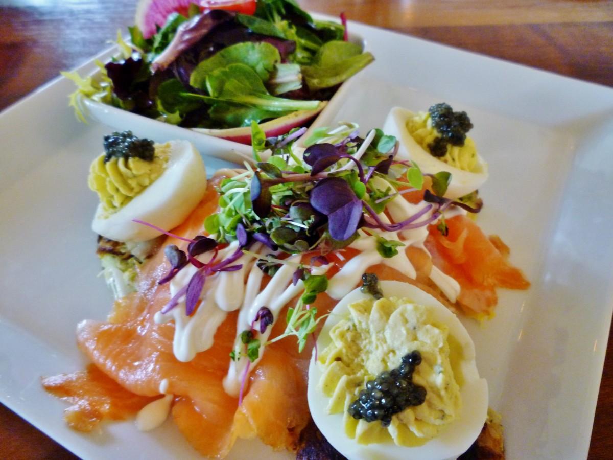 Salmon with potato & zucchini latkes