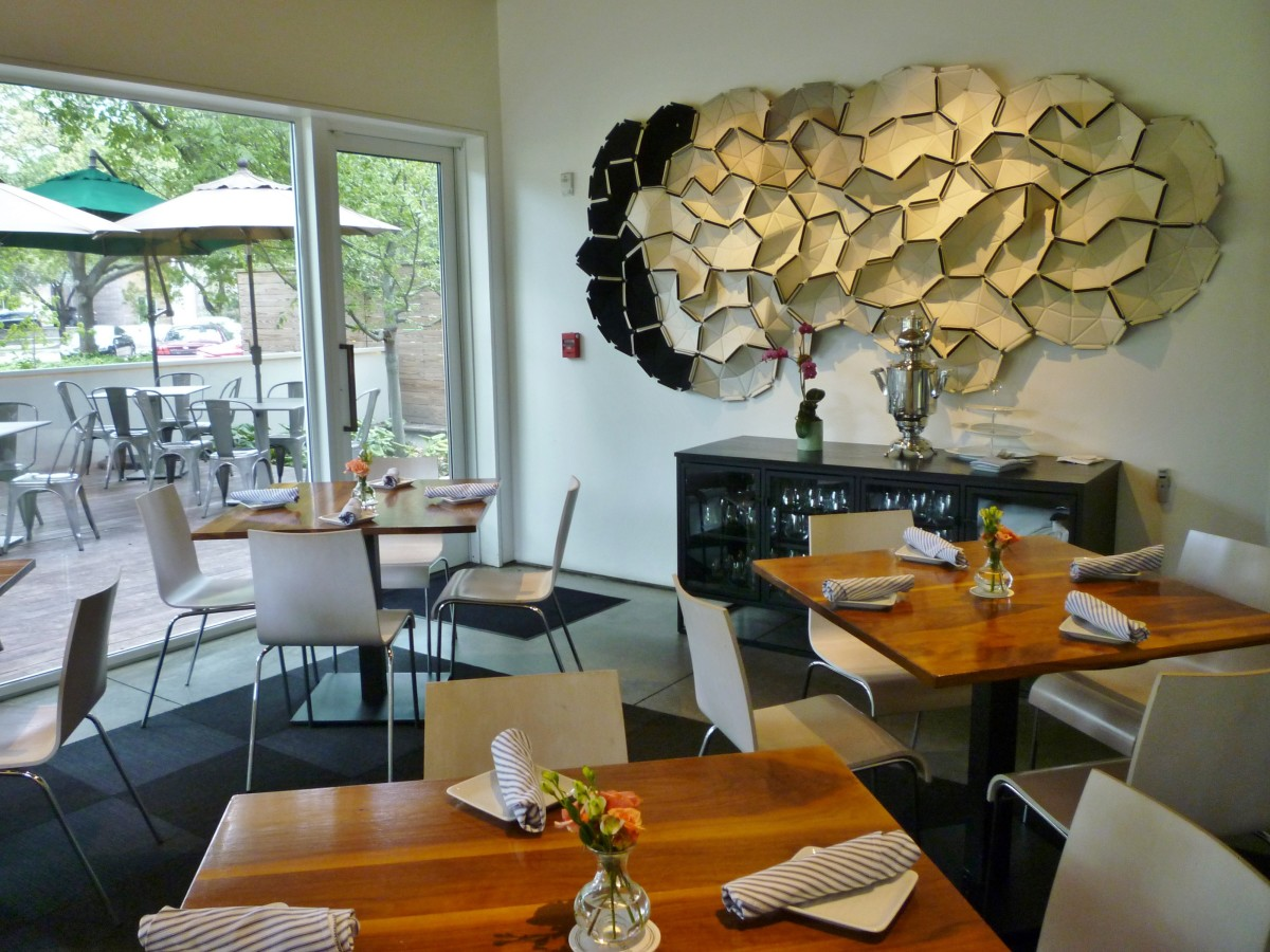 Another view of Bistro Menil dining space adjacent to patio