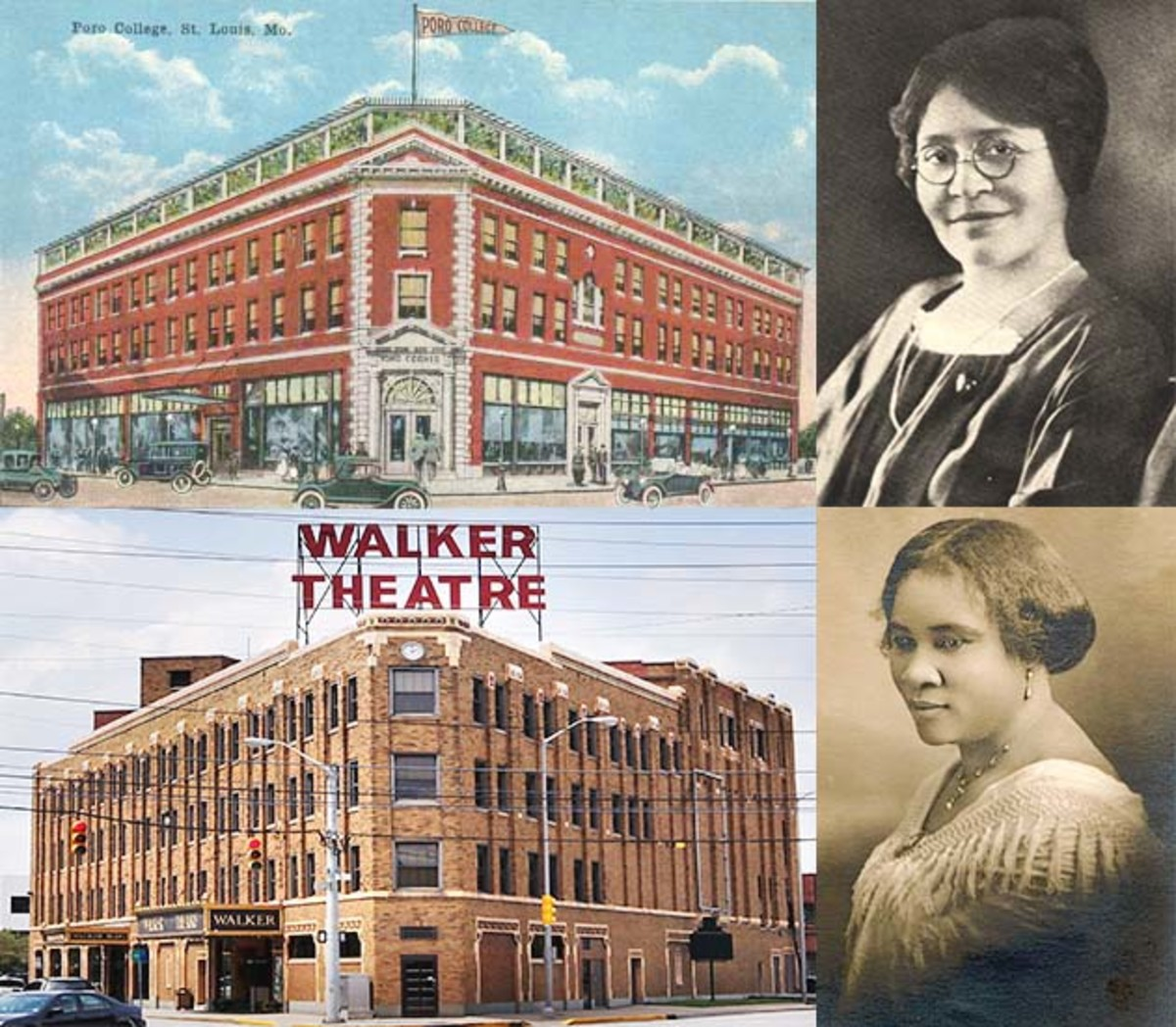The Poro College Building was built in 1918 by Annie Malone. The Walker Legacy Center (Theater) was built in 1927, 8 years after Walker's death in 1919.