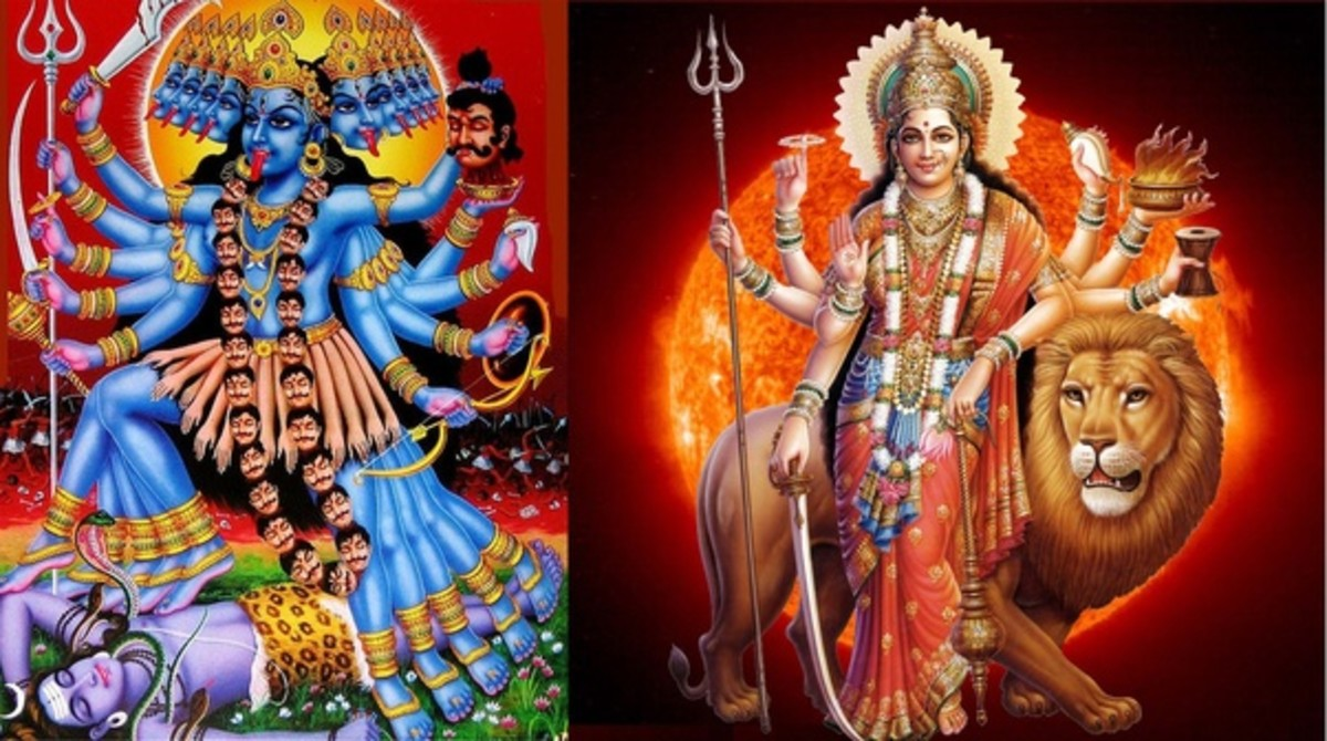 Kali (left) represents uncontrolled consciousness, Durga (right) represents controlled consciousness