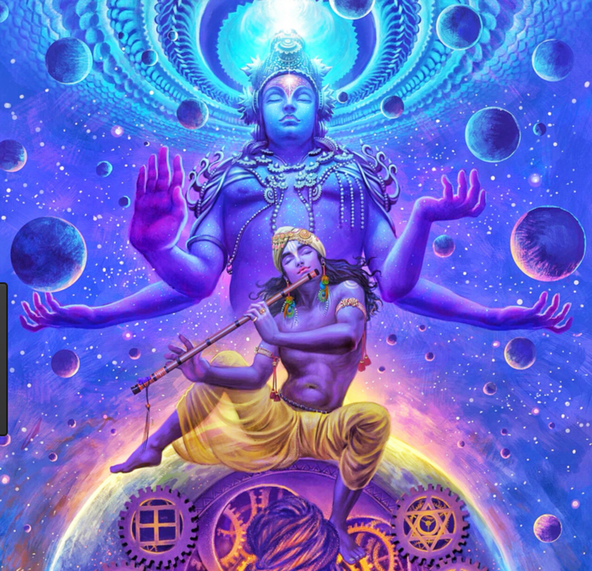 Lord Krishna in his cosmic form as mentioned in Hinduism text of Bhagavad Gita