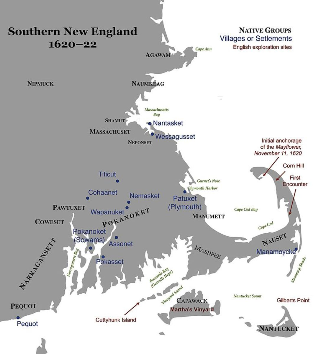 Map of Southern New England, 1620–22, showing Native peoples and English settlements