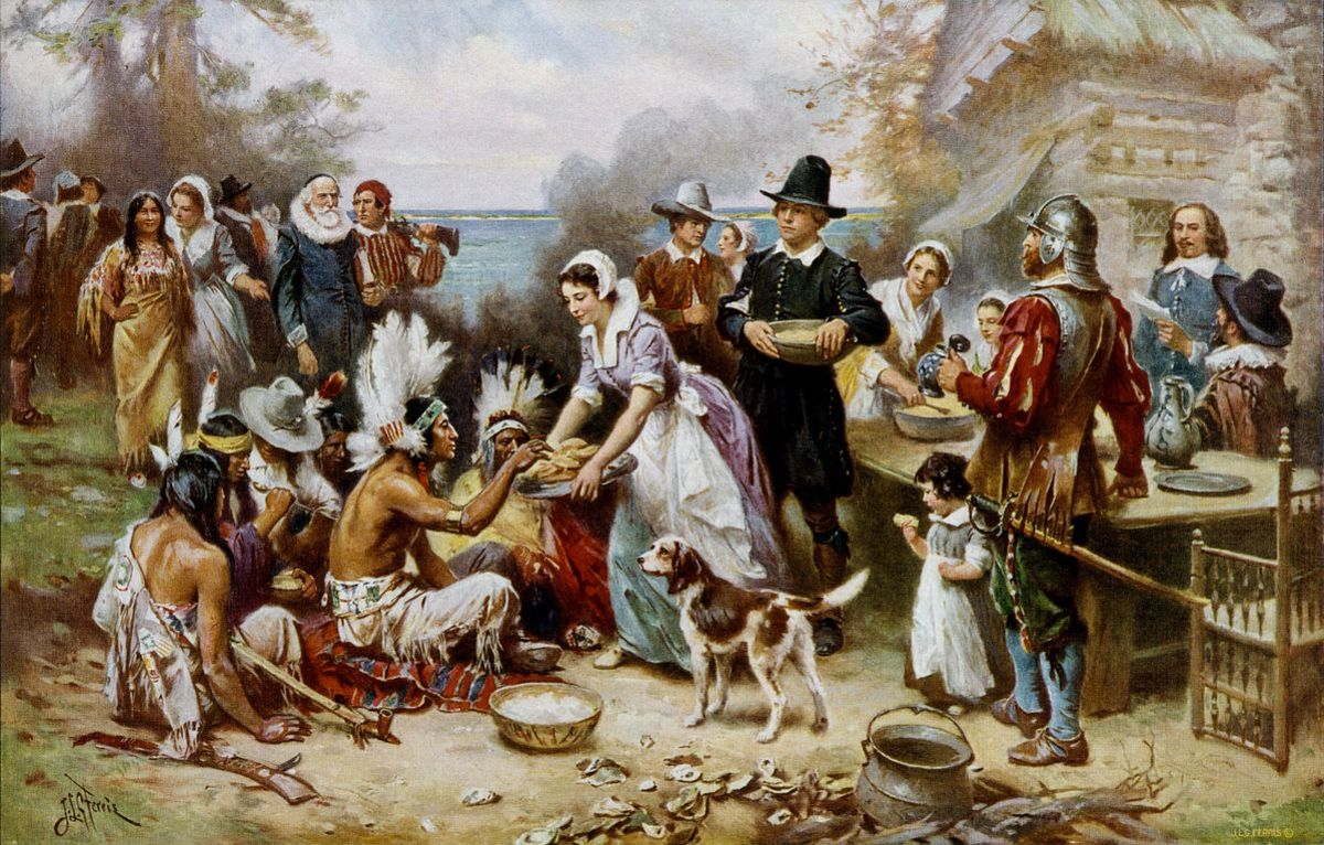 """Painting """"The First Thanksgiving, 1621"""" by Jean Ferris, circa 1912"""