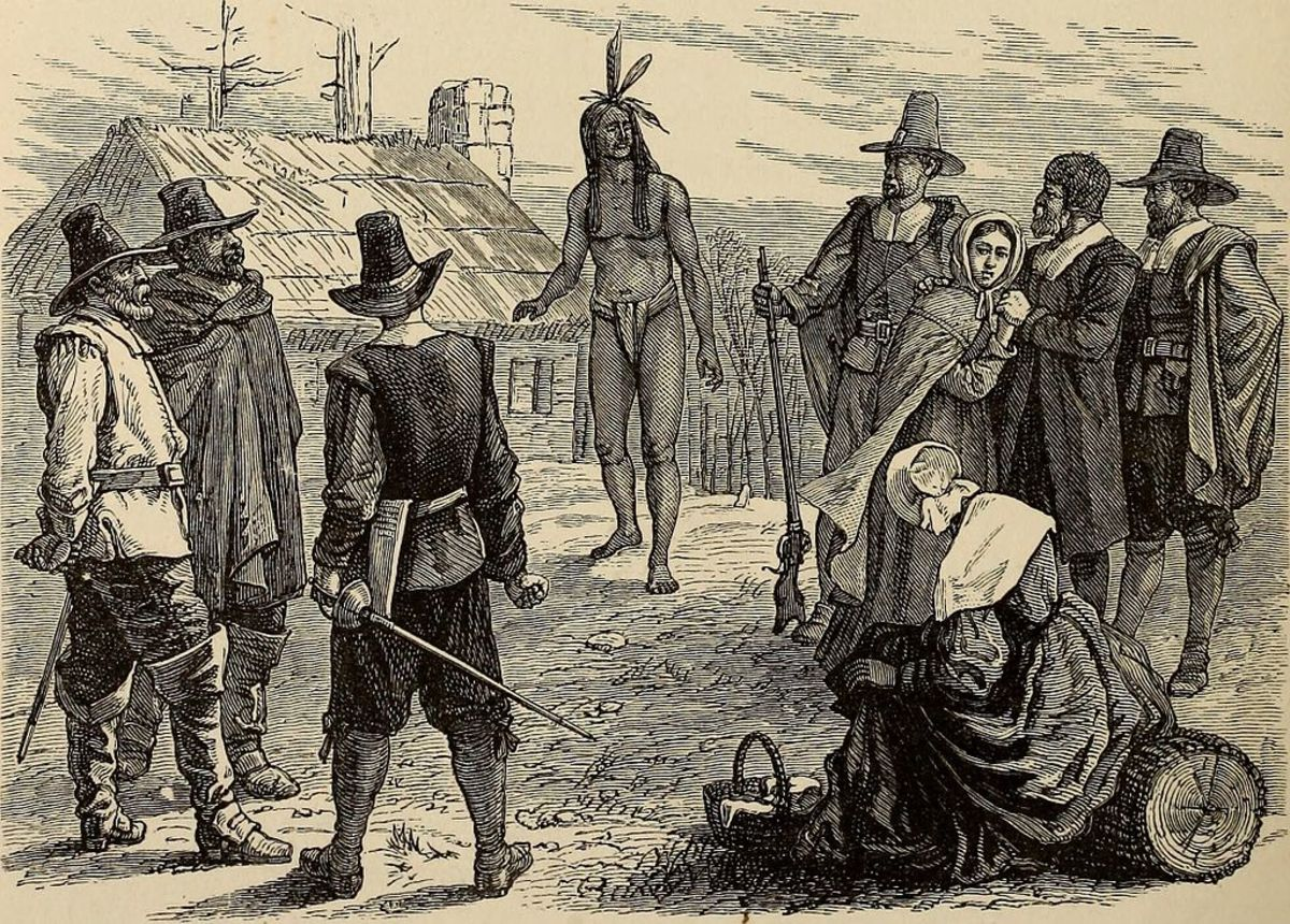 """Samoset comes """"boldly"""" into Plymouth settlement; woodcut designed by A.R. Waud and engraved by J.P. Davis in 1876"""