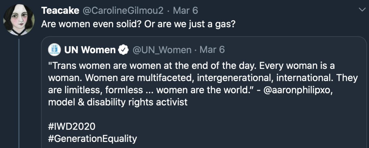 If United Nations Women says transwomen are women and women are formless ...