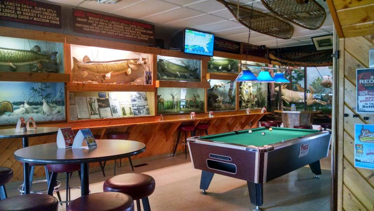 The unique view inside the Moccasin Bar, Hayward, WI