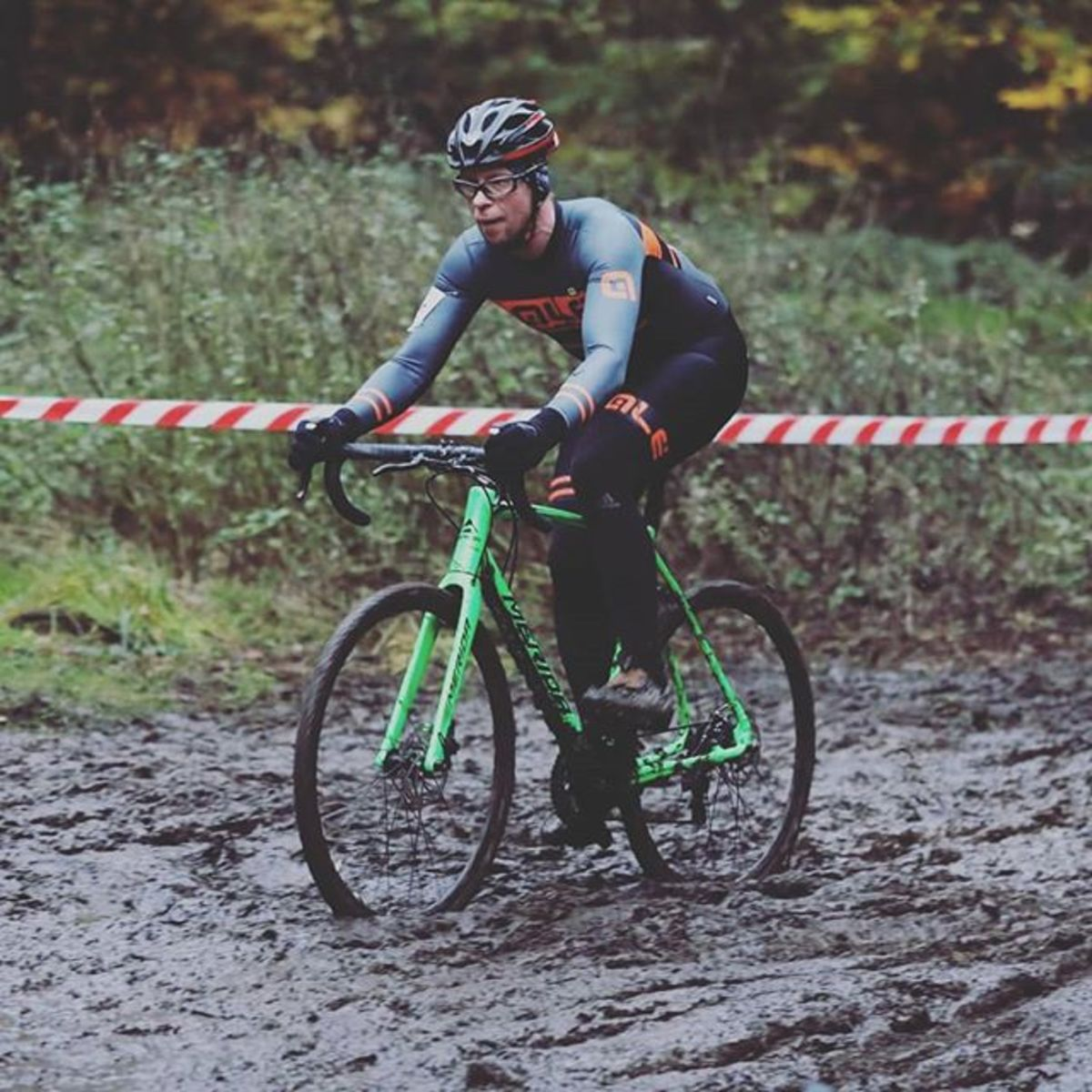 Racing through the mud rolling on Maxxis Mud Wrestler cyclocross tires. Photo courtessy of Mick Bown
