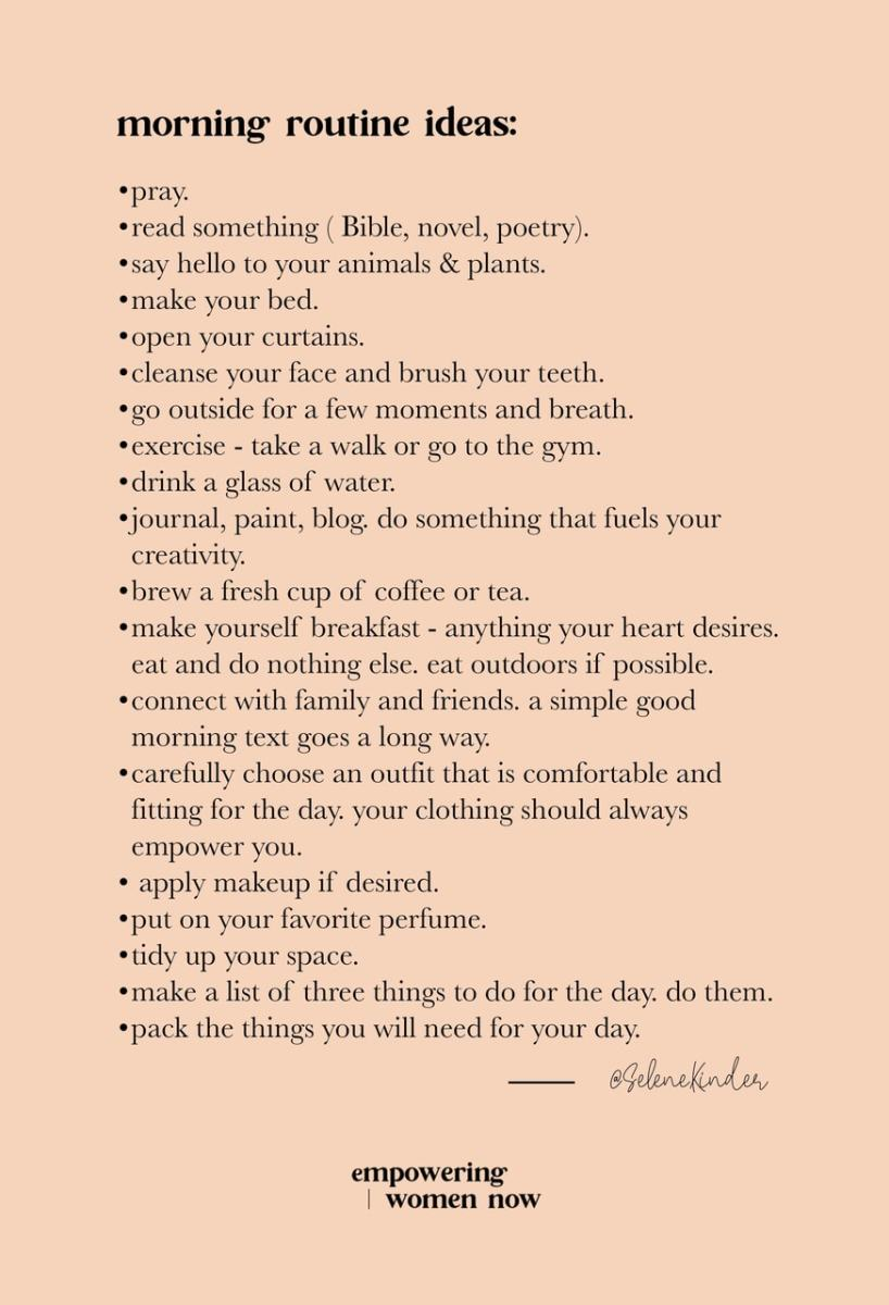 morning routine ideas