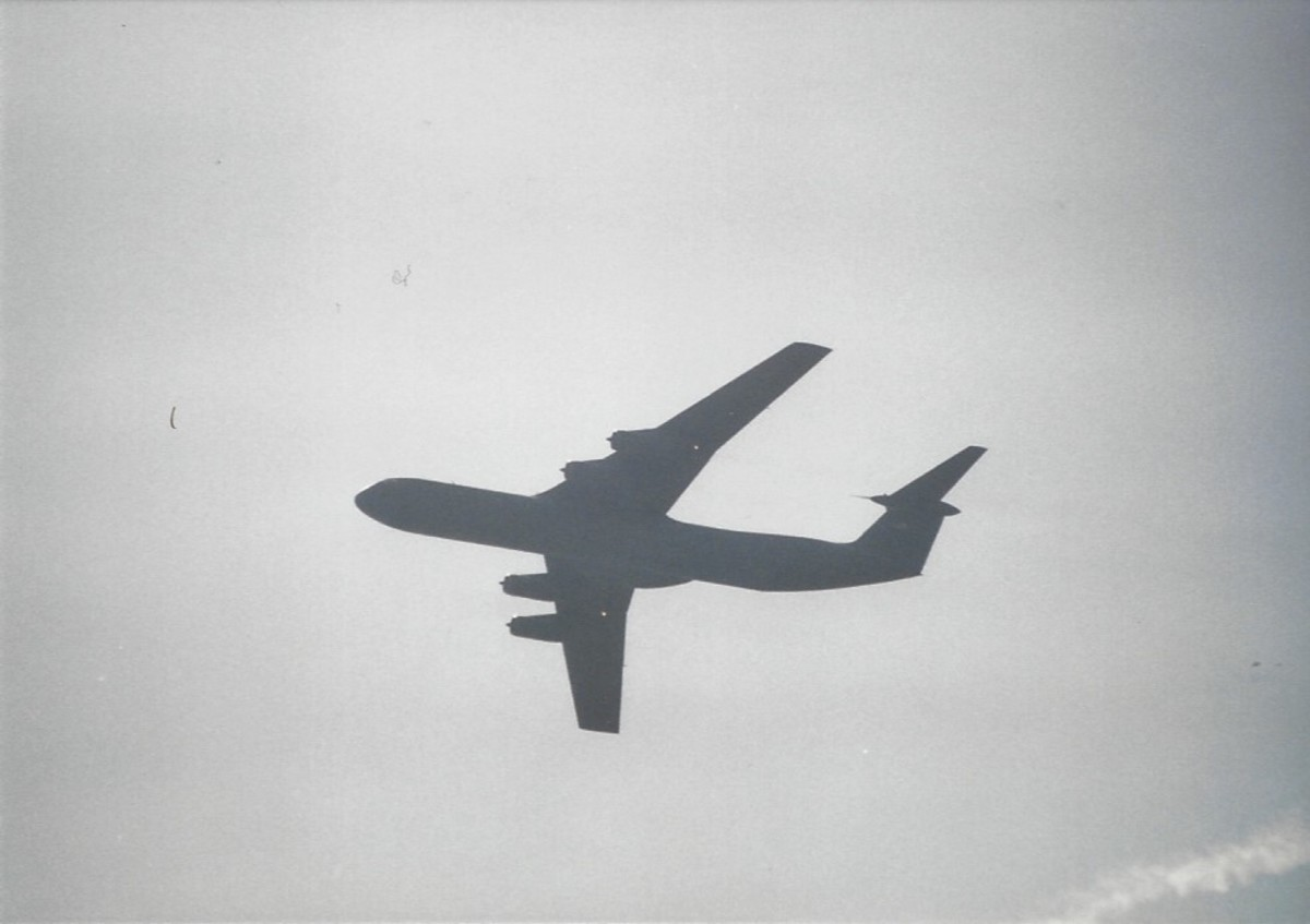 A C-141B over Joint Base Andrews, MD.