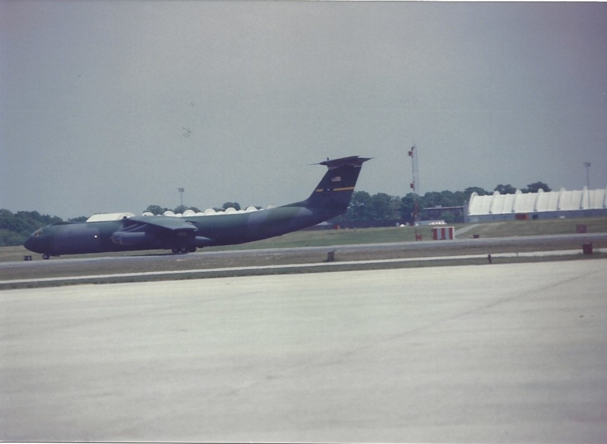 A C-141B landing at Joint Base Andrews, MD.