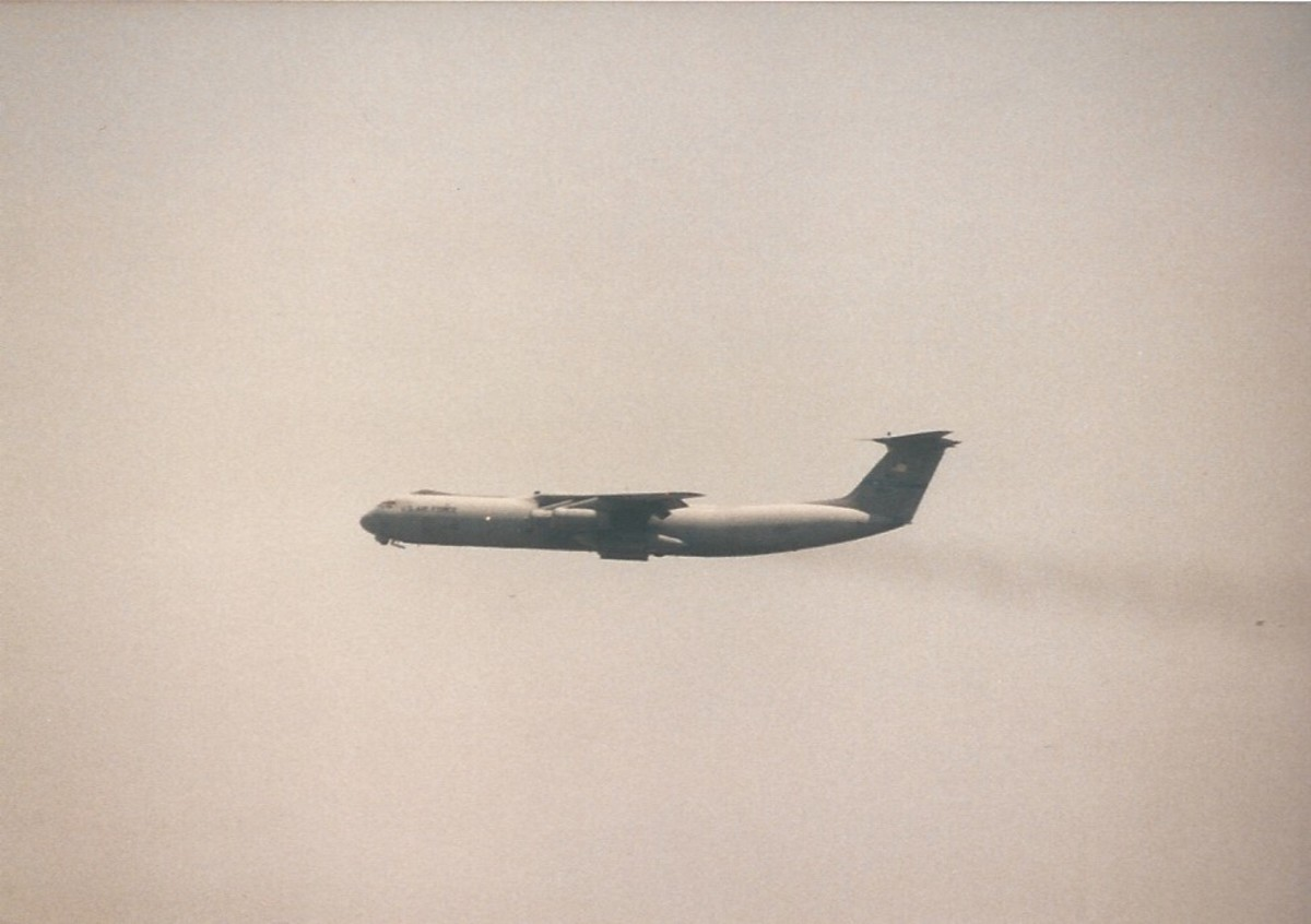 A C-141B over Joint Base Andrews, May 1996.