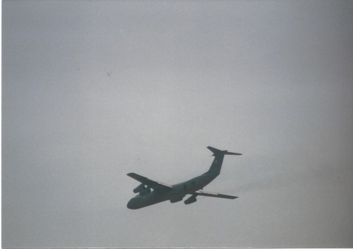 A C-141B over Joint Base Andrew, MD