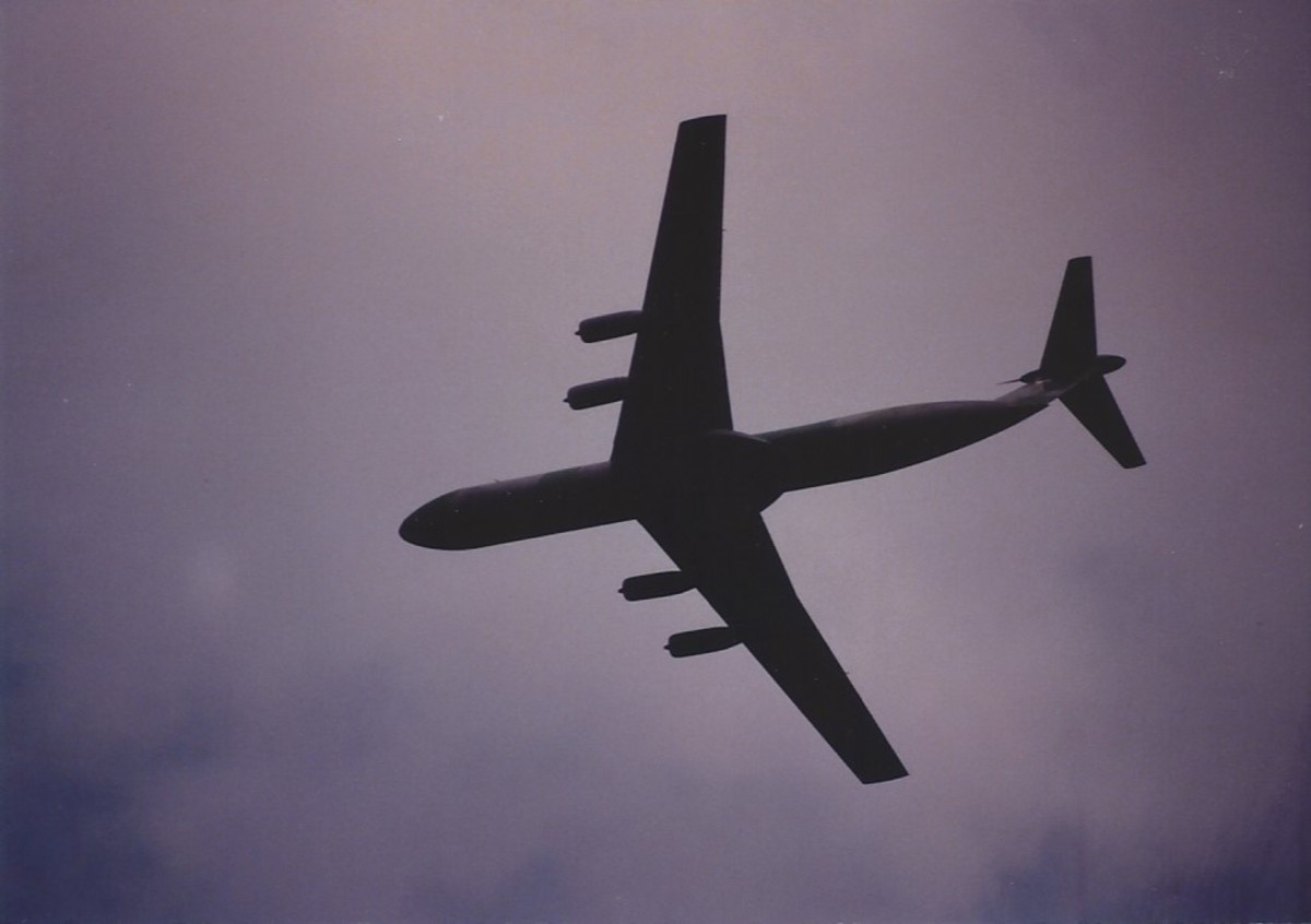 A C-141 over Joint Base Andrews, MD.