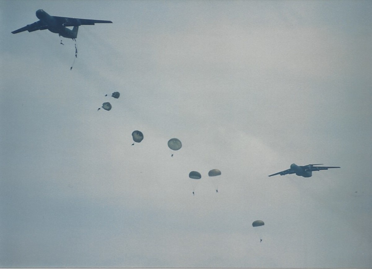 Paratroopers jumping from C-141Bs, Joint Base Andrews, May 1996.
