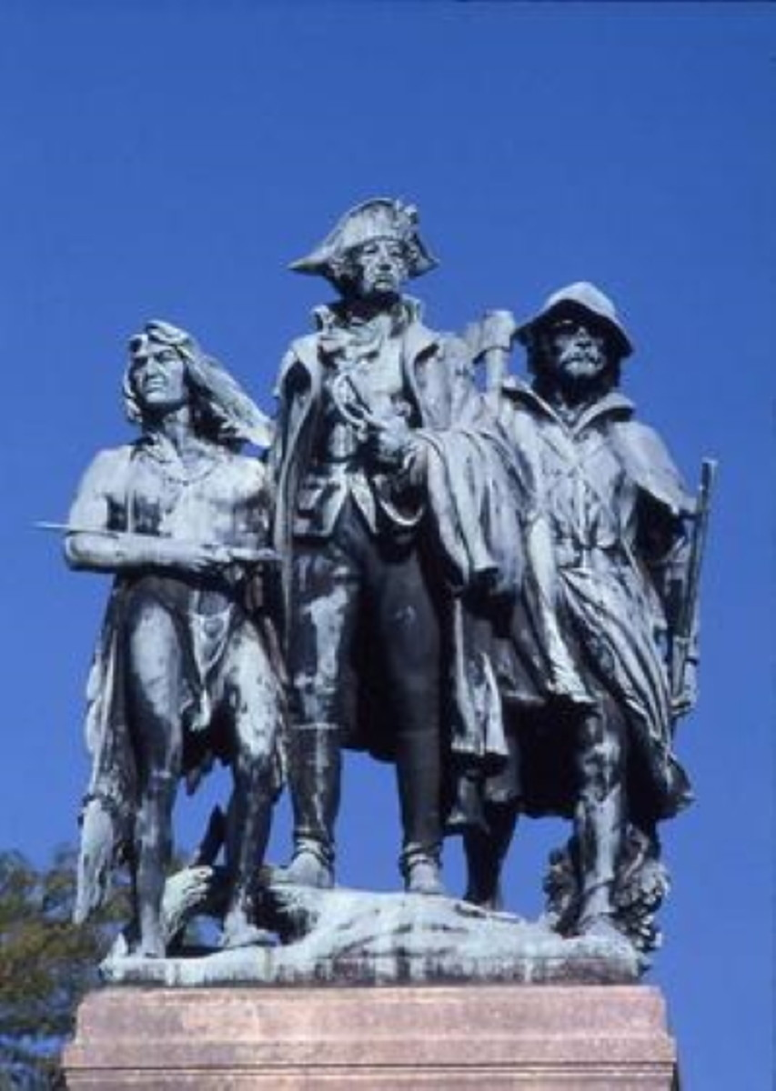 "The monument depicts Maj. Gen. ""Mad"" Anthony Wayne flanked by a Native American scout and a militia man."