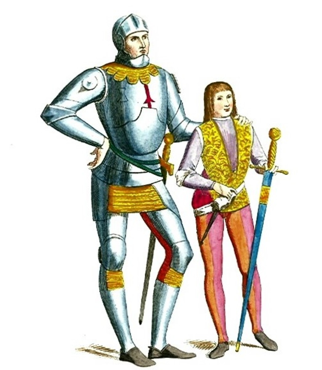 A picture of a knight with his squire.