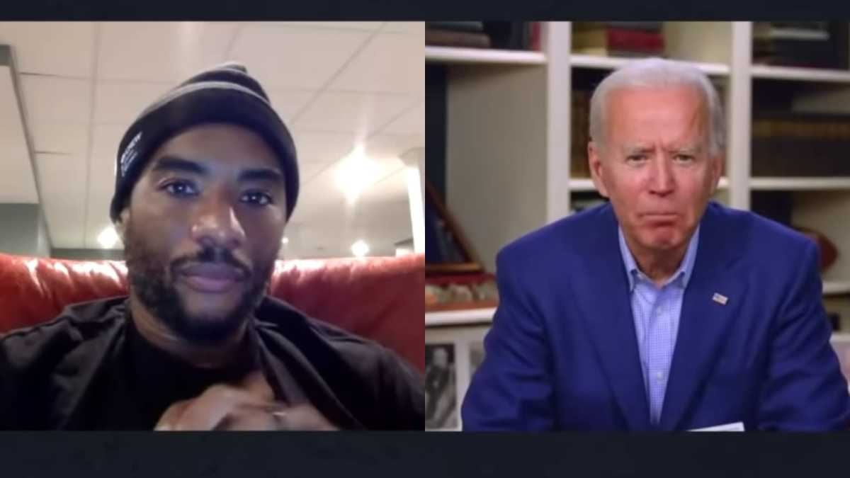 "Biden (right) and radio host Charlamagne tha God (left) during an interview in which Biden blurted out his infamous ""you ain't black"" gaffe in May, 2020"