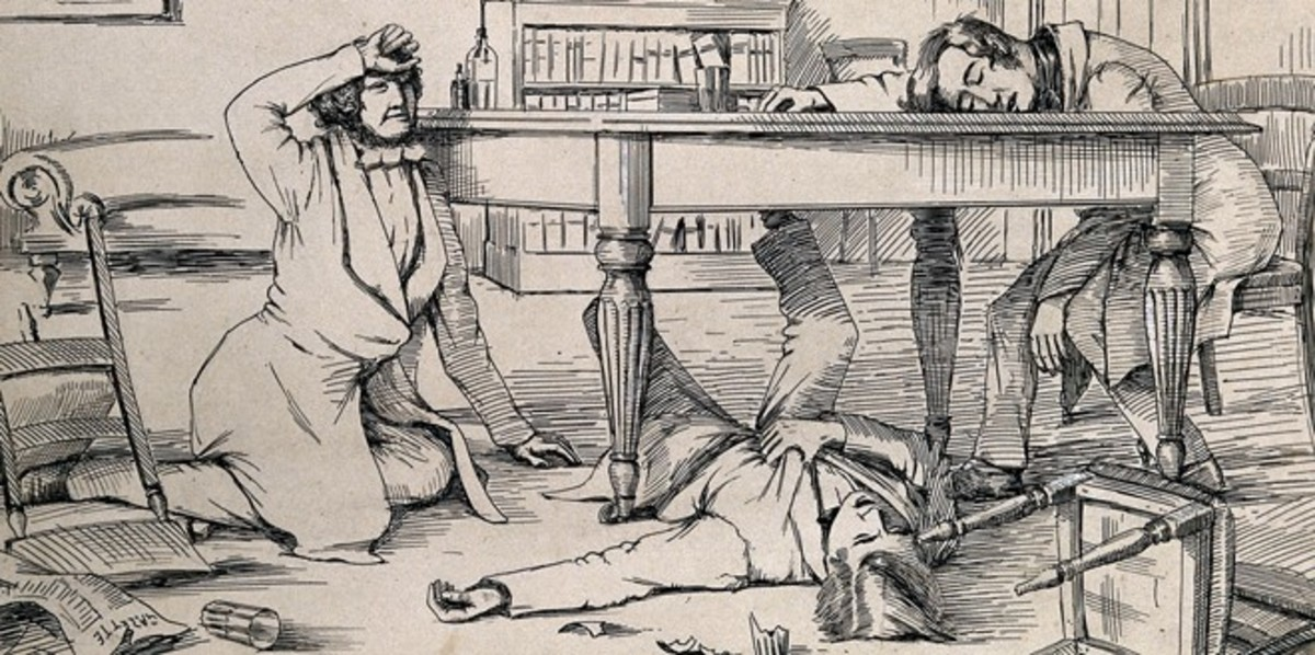 The effects of liquid chloroform on Sir James Young Simpson and his friends. The shattered glass used by one of the experimenters lies on the floor. Artist unknown, 1840s.