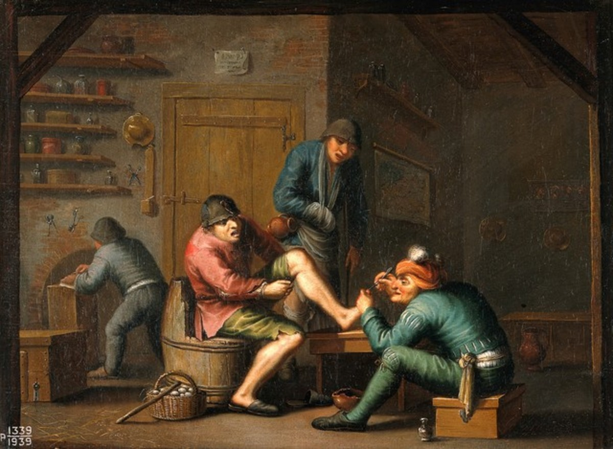 An operation on the foot: allegory of the sense of touch. Oil painting after Adriaen van Ostade