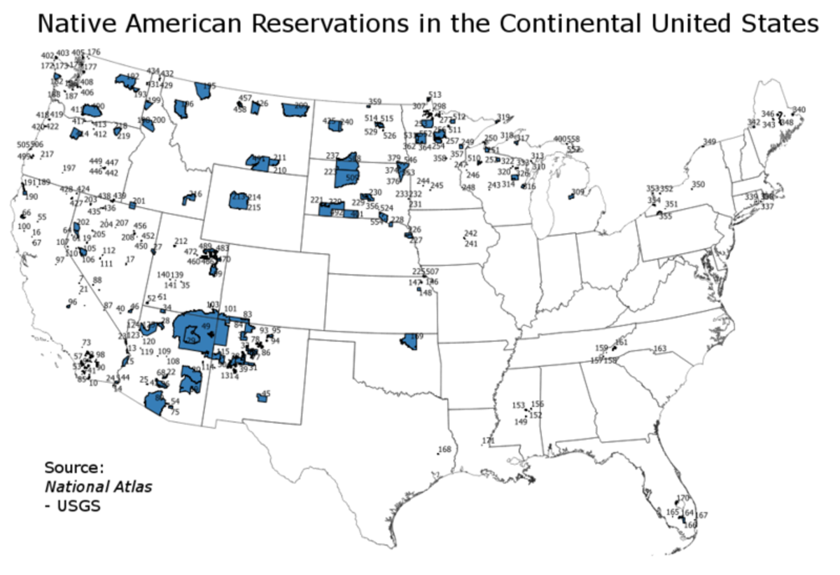 A map showing reserved territories in America