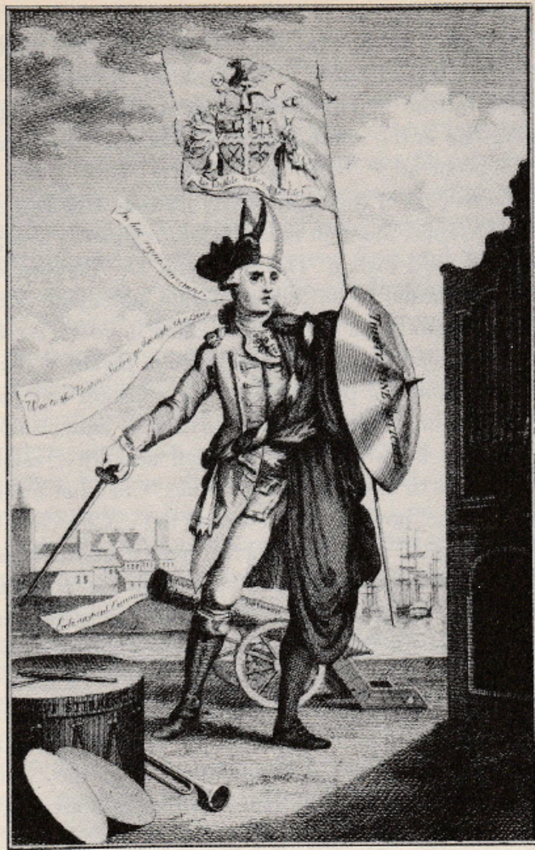 Satirical figure of an individual who is  half English soldier and half Bishop, implying a  relationship between church and state in England.