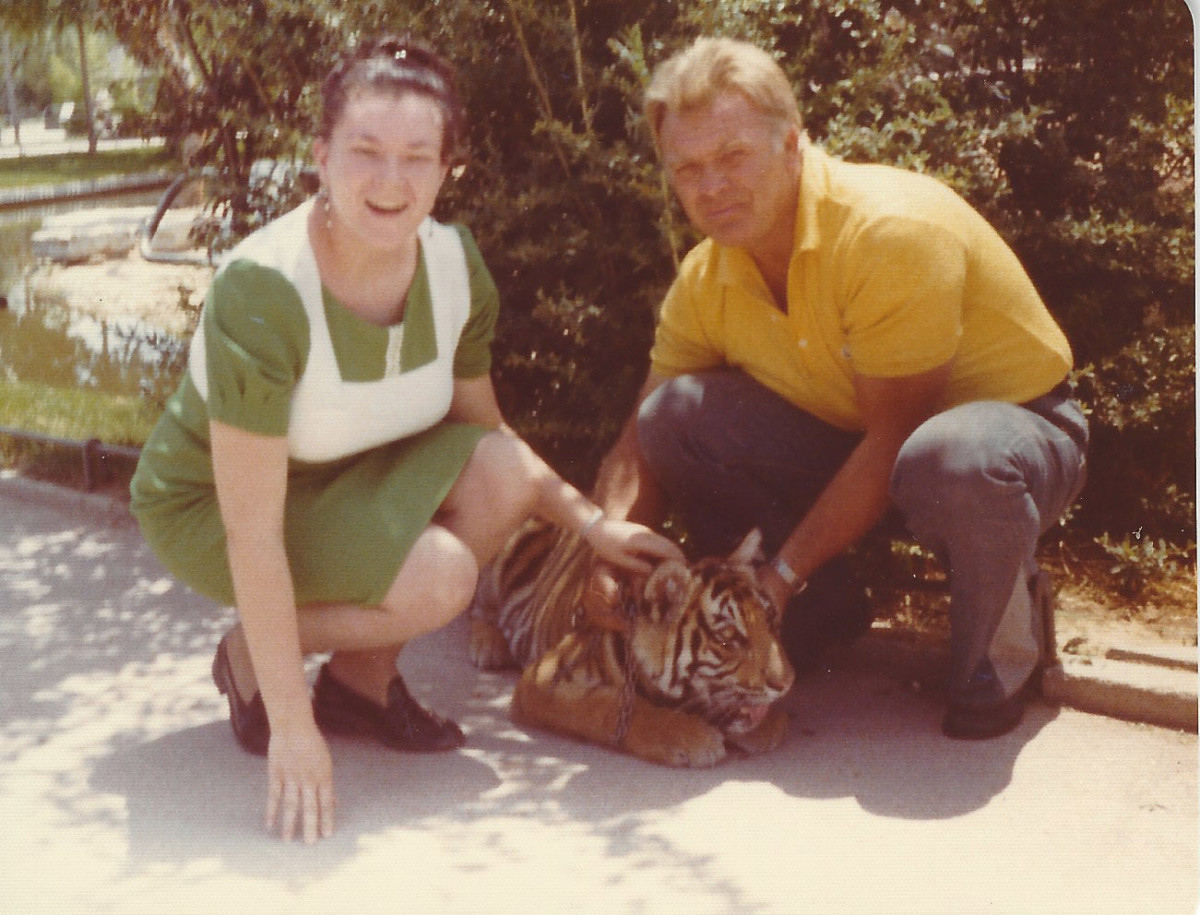 Me at a zoo in Spain petting a tiger cub.