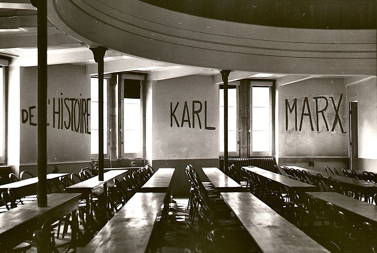 Graffiti in a classroom during the 1968 student riots